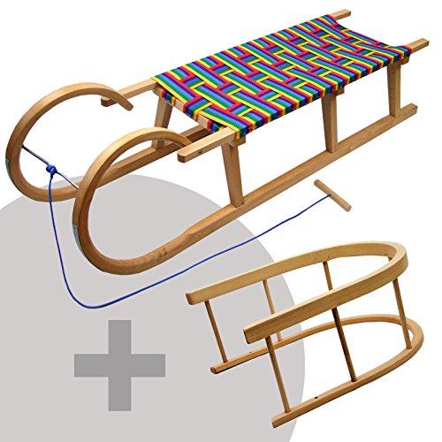 BAMBINIWELT Holzschlitten Hörnerrodel mit Rückenlehne und Zugseil, Sitzfläche aus Kunstfasern im REGENBOGENDESIGN,120cm