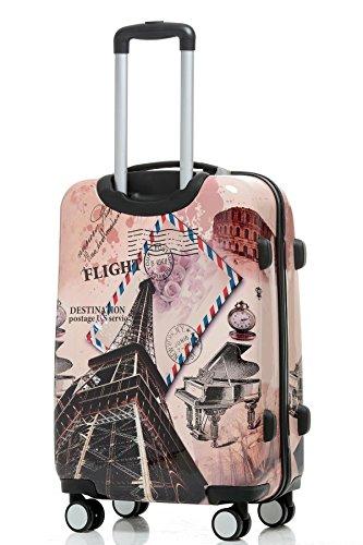 BEIBYE Reisekoffer Hartschalen Hardcase Trolley Zahlenschloss Polycarbonat SET-XL-L-M- Beutycase (Eiffel Tower, M(Handgepäck)) - 3