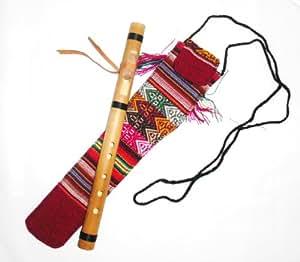 Petite Flûte cherokee professionnelle en Bambou + sa housse de protection