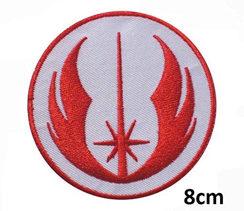 Galactic Bürgerkrieg Star Wars Rebel Alliance rot weiß Squadron Jedi Orden X-Wing Starfighter Squadron Patch   Stickerei Hohe Qualität Eisen auf Sew auf Patch Abzeichen für Kleidung Jacken T-Shirts Mäntel Taschen Hüte Geldbeutel (Flag Leder Rebel)