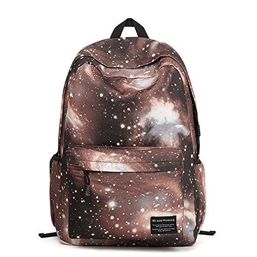 Minetom Damen Schulrucksack Nebel Star Universum Schulranzen Schultasche Rucksack Freizeitrucksack Daypacks Backpack Kaffee