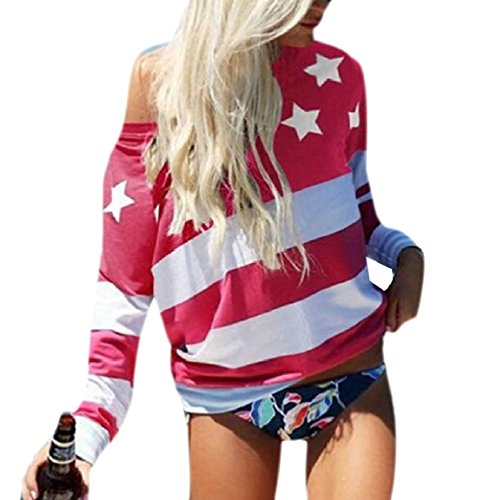 security Women's American Flag Print Tops Crewneck Long Sleeve T Shirts Loose Sexy Top Blouse