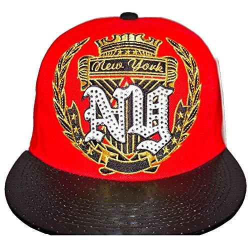 KB Ethos NY Super Couronne Plat Peak Bouchons, HipHop Baseball Drap Plat Bord en cuir look Hat