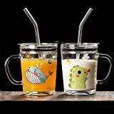 KELVEE Random Design Glass Straw Measuring Drinking Mug with Handle and Clear Lid with Scale Straw for Multiple Usage 350 ml