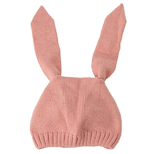 Winter Mädchen Jungen Wintermütze mit Ohren Kinder Mütze Strick Hut Warm (Rosa) ()