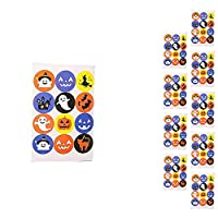 Lumanuby 120 Pcs/10 Sheets Halloween Stickers Set Pumpkin Bats Ghost Packaging Sealed Stickers Decorative for Halloween Party Baking Sealing Label
