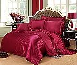 Kong set Pure color copripiumino pezzi UE, lusso raso di seta camera da letto di biancheria da letto include 1copripiumino, 1lenzuolo 2federe, Poliestere, Wine Red, King(4pcs):220x240cm