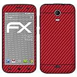 atFolix Skin kompatibel mit Wiko Darkmoon, Designfolie Sticker (FX-Carbon-Red), Carbon-Struktur/Carbon-Folie
