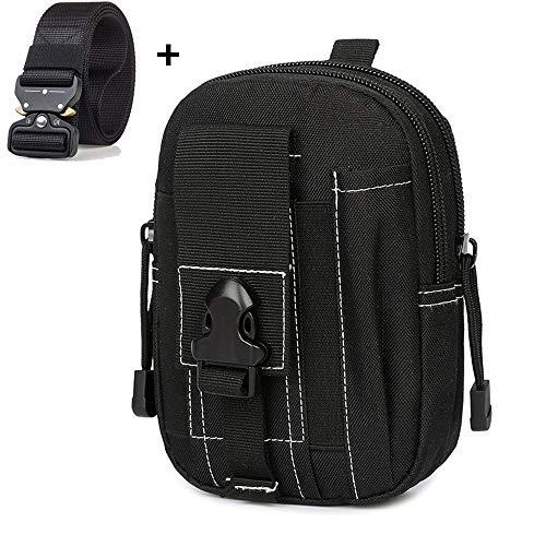 LIUSIYU Outdoor Tactical Waist Pack Multi Purpose Bag, Sac de Taille de randonnée en Nylon 1000d, Sac Utilitaire Polyvalent pour Gadget Molle avec Ceinture Tactique Ceinture Militaire