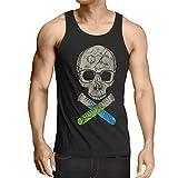 style3 Walter Calavera camiseta de tirantes para hombre tank top, Talla:2XL;Color:Nero