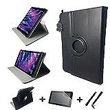 3in1 Starter Set für ACER Iconia ONE 10 B3-A30 Echt Leder Tablet Hülle + Schutzfolie + Touch Pen - 10.1 Zoll Leder Schwarz 360 3in1