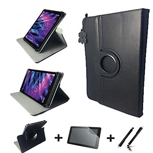 3in1 Starter Set für Lenovo IdeaPad Miix 310 10ICR Echt Leder Tablet Hülle + Schutzfolie + Touch Pen - 10.1 Zoll Leder Schwarz 360 3in1