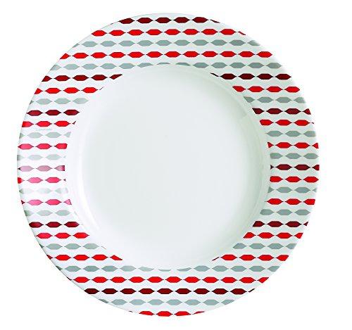 Luminarc 9211900 Lot de 6 Assiettes Creuses Sixties Opale Rouge/Blanc 22 x 22 x 3,2 cm