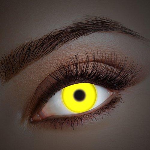 ontaktlinsen farbig-e Jahreslinsen ohne Stärke Halloween Fasching UV schwarzlicht gelb neon (Neon Farbige Halloween Kostüme)