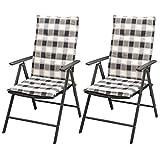 SHENGFENG Campingstuhl schwarz, 2 Stück, Rattan PE + Aluminium, Stuhl-Set für Garten, 55 x 64 x 105 cm