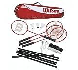 Wilson Tour - Set di 4 racchette da badminton con rete, pali e volani