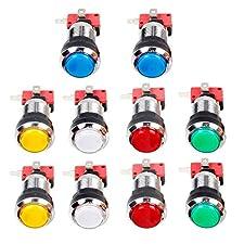 EG STARTS 10 x Arcade Chrome LED Leuchtdrucktasten Mit 4,8mm Schnittstelle Mikroschalter Für Arcade Maschine Spiele Mame Jamma Teile 12 V (jede Farbe von 2 Stücke)