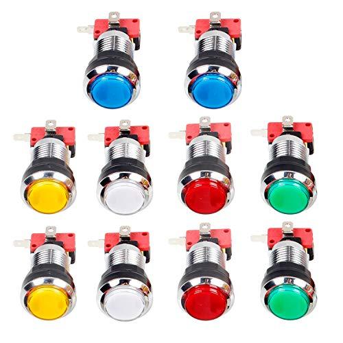 EG STARTS 10 x Arcade Chrome LED Leuchtdrucktasten Mit 4,8mm Schnittstelle Mikroschalter Für Arcade Maschine Spiele Mame Jamma Teile 12 V (jede Farbe von 2 Stücke) (Video-arcade-maschinen)