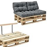 [en.casa] Palettensofa - 2-Sitzer mit Kissen - (Hellgrau) Komplettes Set inkl. Rückenlehne