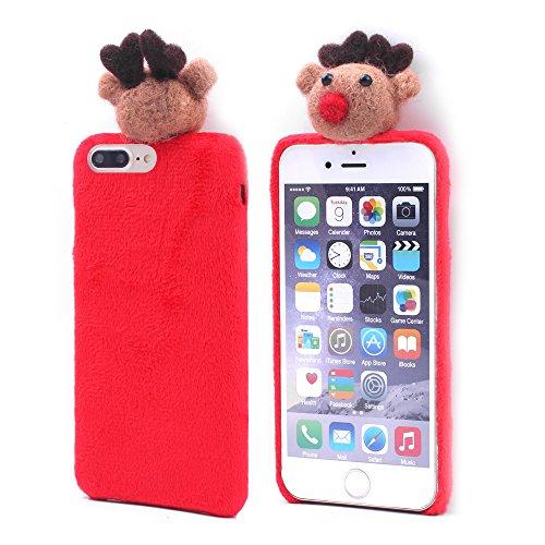 iProtect Stoff überzogene Schutzhülle Apple iPhone 7 Plus, iPhone 8 Plus Hardcase weihnachtliches Design mit Rentier in rot Rot Rentier