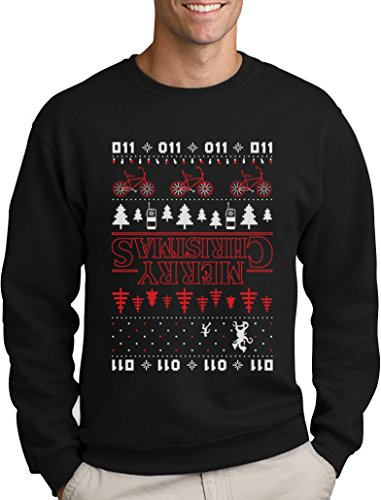 *Green Turtle T-Shirts The Upside Down Hässlicher Weihnachtspullover Für Serien Fans Sweatshirt Medium Schwarz*