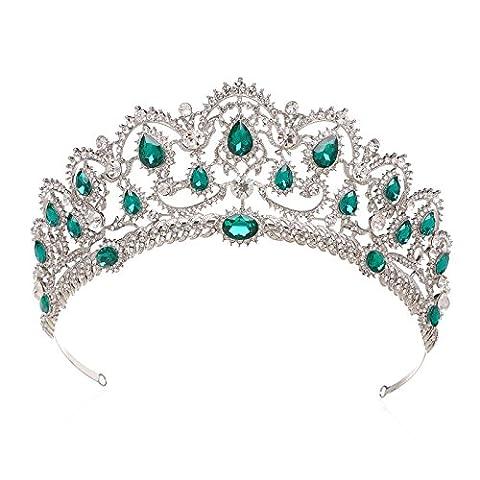 SWEETV Luxus Haar-Zubehör Kristalle Krone Strass Diadem Braut Tiara Haarzusätze Schmuck Krone für Hochzeit Festzug Prom, (Grüne Braut Schmuck)