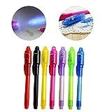Tiptiper Pluma invisible de la tinta 4PCS construida en luz 2-in-1 ULTRAVIOLETA Plumas de tinta encubierta Magic Gadget de mensaje secreto de marcador