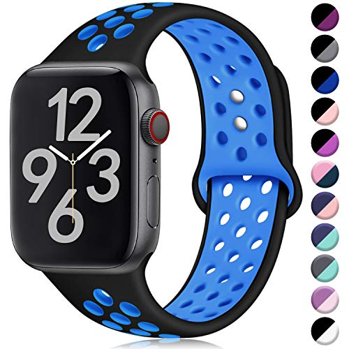 Hamile Kompatibel für Apple Watch Armband 38mm 40mm,Dual Farbe Weiches Silikon Atmungsaktiv Sportarmband für Apple Watch Series 4 Series 3 Series 2 Series 1, M/L Schwarz/Blau Apple Farbe