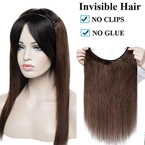Extension capelli veri con filo invisibile fascia unica castano 16