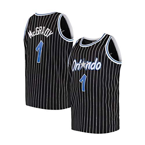 Tracy McGrady # 1 Basketball Jersey Classic Black T-Mac Anzug, NBA Uniform, Ärmel Unisex Foto, S -XXL (Color : Schwarz, Size : XS)