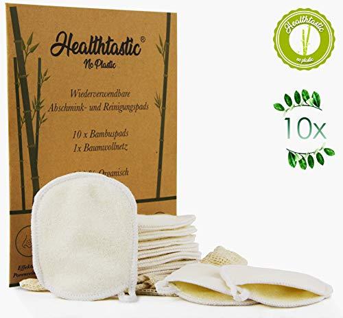 Baumwolle Pad (Healthtastic Neuartige Waschbare Abschminkpads 10er-SET Schmierfrei & Saugstark aus Bambus INKL. Waschnetz aus Baumwolle - Wiederverwendbare Bio Wattepads & Abschminktücher zum Aufhängen)