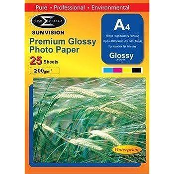 100 Sheet Sumvision Premium 200gsm A4 Inkjet Photo paper White Glossy Surface UK