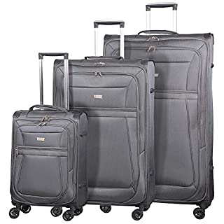 """Aerolite Reinforced Super Strong and Light 8 Wheel Lightweight 3 Piece Luggage Suitcase Set, 21"""" Cabin + 29"""" Large + 32"""" Extra Large, Grey"""