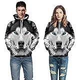 Internet-Traje de suéter de Pareja: otoño e Invierno, Informal con Estampado de Lobo en 3D...
