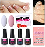CLAVUZ French Manicure Nail Gel Polish Set Top Coat and Base Coat Matte Black Red Pink White Nude Color Collections DIY Nail Art at Home Free Nail Sticker Gift Kit