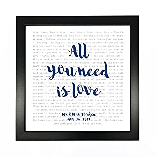 The Beatles, All You Need Is Love - Typography Song Lyrics Print Framed & Personalised - Anniversary Valentine's Wedding Gift Perfect for Him, Her, Couple