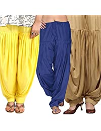 ROOLIUMS ® (Brand Factory Outlet) Punjabi Patiala Salwar Combo 3 - Free Size (Yellow, Blue, Beige)