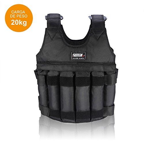 Zerone Verstellbar Gewichtsweste, Training Weste Max Traglast 20kg Verstellbar 12Beutel Jacke für Gewichtsverlust Running Training Gym