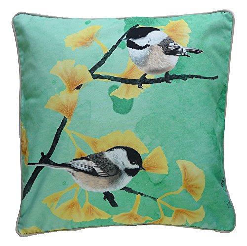 MYRTE Chickadees en funda de cojín con pájaro ilustración, verde menta, 60x...