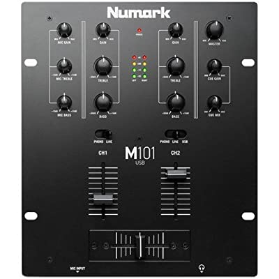 Numark M101 USB 2-Channel All-Purpose DJ Mixer with USB, Rack Mountable with 2-Band EQ