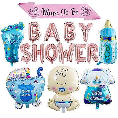 """koration, Baby Shower Balloons It's a Boy/Girl Folienballons mit Mum to Be"""" Schärpe für Kinderpartyzubehör (Junge) ()"""