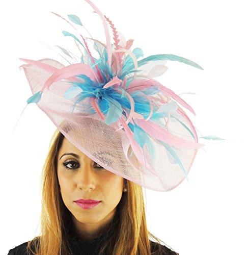 Silber Sinamay und Feder fascinator Hut für Ascto und Derby mit Haarband (Silber Santa Hut)