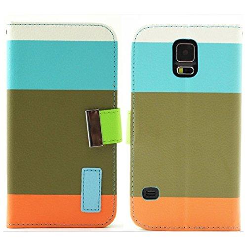 Brillant TM–Étui en imitation cuir avec étui portefeuille à rabat avec support design et coloré Protection, Cuir synthétique, Multi Pink, For iPhone 6 Bleu multicolore