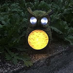 Solar Powered LED Light Owl Style Solar Resin Lamp Outdoor Garden Yard Lawn Path Light Landscape Lamp Green (Warm Light)