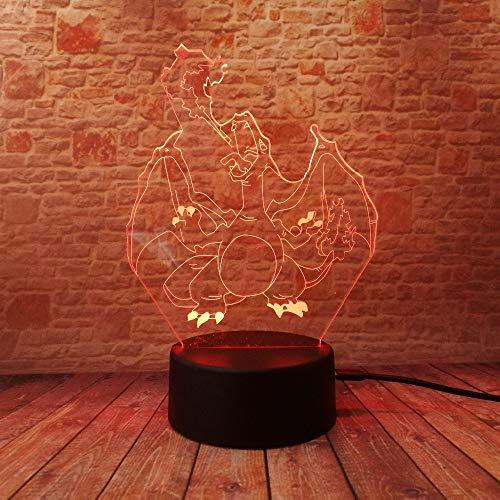 Lampes d'illusion d'optique 3D LED Nigh Light,7couleursTouche/télécommande Art,Piles USB/AA par,Chambre Lampe de décoration de table de bureau pour enfants Adultes, Pokemon