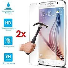 Galaxy Note 4 Verre 2x - Kit 4 en 1 HD Film de Protection d'écran en Verre Trempé pour protéger l'écran tactile de Smartphone SAMSUNG GALAXY NOTE 4 N910 Wi-Fi 4G LTE + 1 Tissu Sec + 1 Chiffon Humide + Emballage en plastique rigide