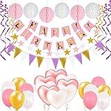 Geburtstagsdeko,Aufisi Happy Birthday Girlande Geburtstag Happy Birthday Banner, 6 Wabenbälle 12 runde und 8 herzförmige Luftballons 12 dreieckige Wimpel,Herzform Girlande, Bunt Party Deko für mädchen