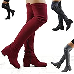 c8068c942af ESSEX GLAM Womens Thigh High Chunky Low Heel Ladies Zip Stret .