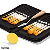 #2: KABEER ART 15 Pcs Paint Brush Set Includes Pop-up Carrying Case with Palette Knife and 1 Sponge for Acrylic, Oil, Watercolor and Gouache Painting