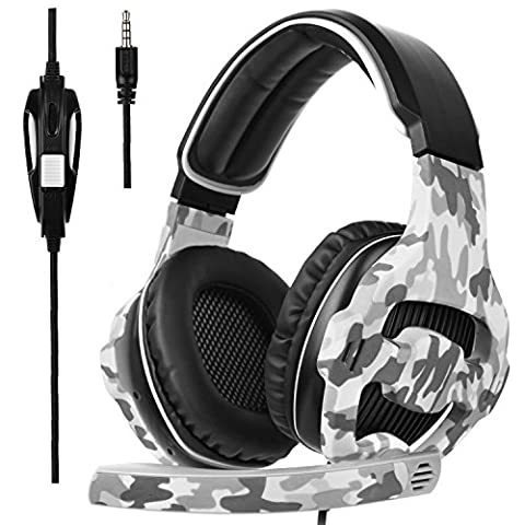 Sades SA810S Gaming Headset for PS4 Professional 3.5mm PC Game Bass Headphones Stereo Noise Isolation Over-ear Headset with Mic Microphone for PS4 Xbox one Laptop Computer and Smart